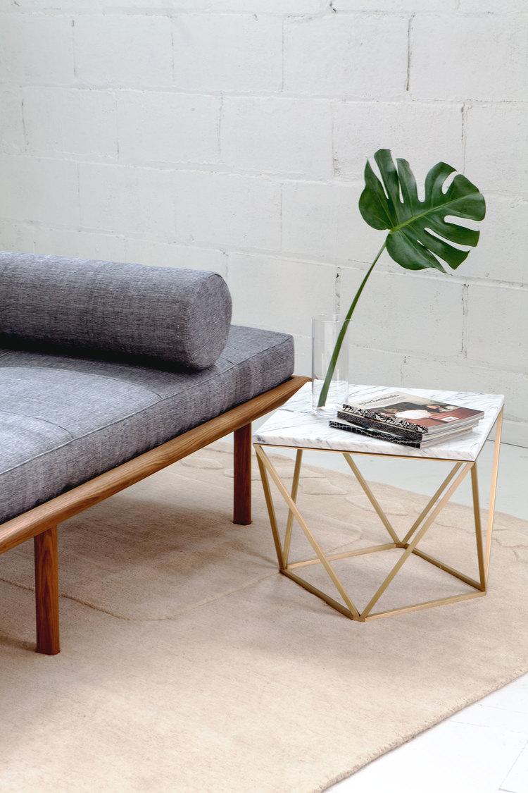 Dusk Side Table (White Marble / Brass) — Coil + Drift