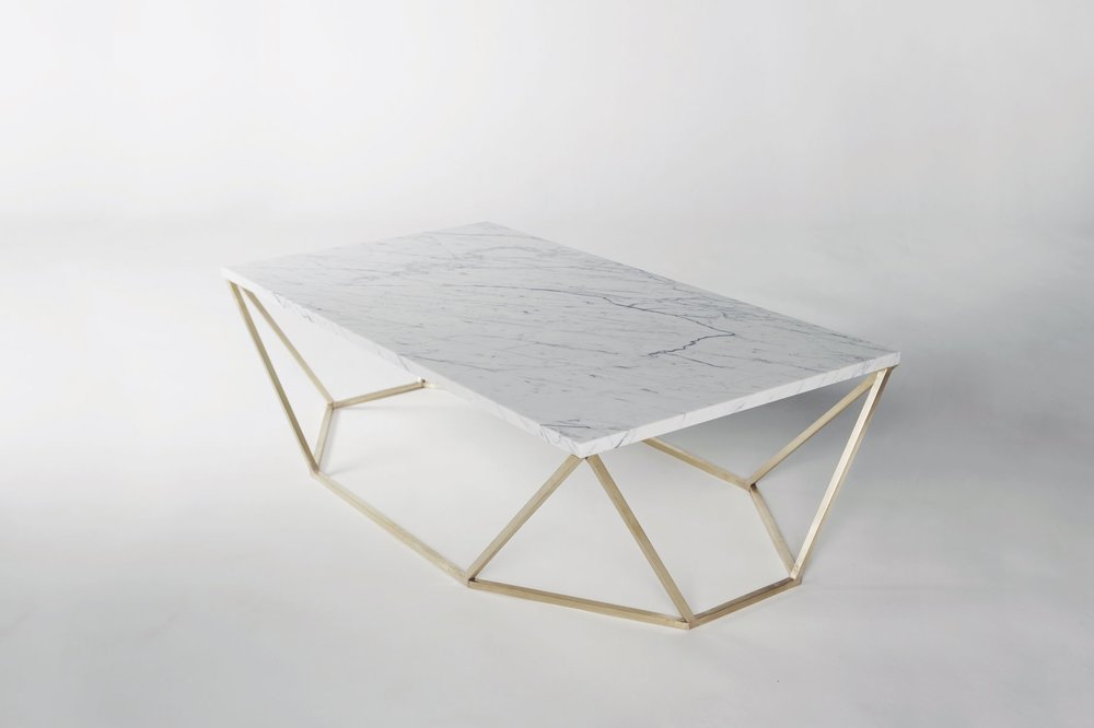 Dusk Coffee Table (White Marble/Brass)