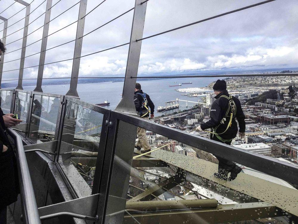 "We could not have done this without Matt and Val. The Space Needle Engineering Staff were the heroes of this operation, going out on the Space Needle ""Halo"" to install and adjust the 20 GoPro cameras. The most popular tourist questions we're, ""Are you gonna bungee jump?"" or my favorite ""Why are they wearing dress shoes?"""