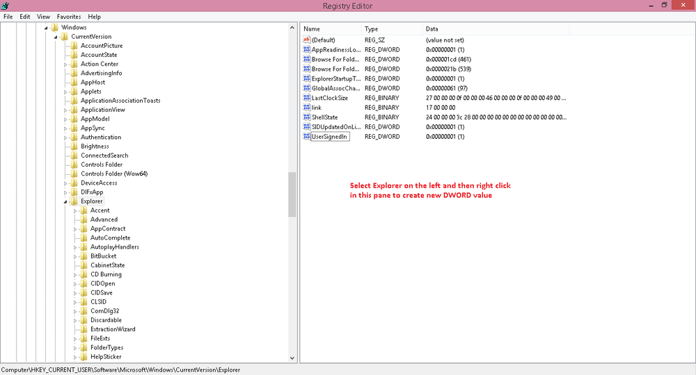 registry in windows 8