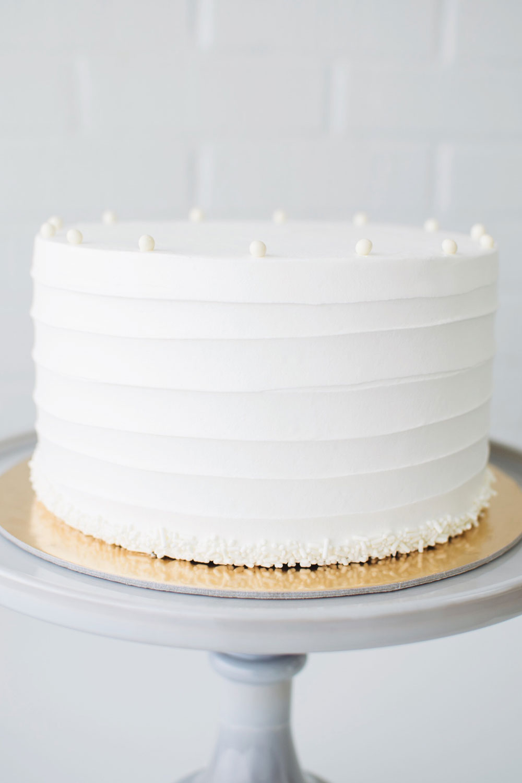 Vanilla Diplomat - vanilla cake | vanilla diplomat cream filling | vanilla buttercream, white sprinkle border, vanilla pearl crown