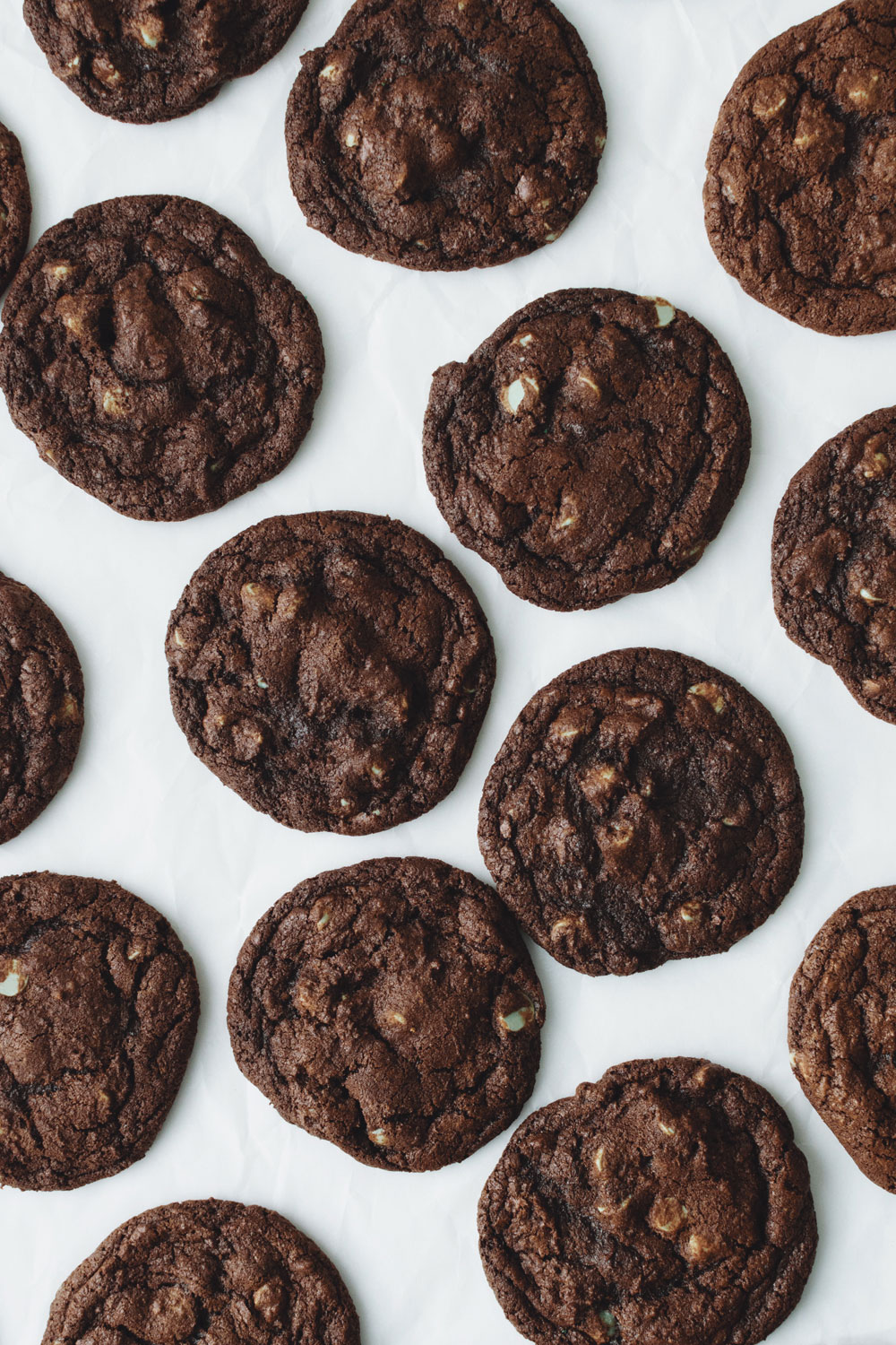 CHOCOLATE MINT CHIP COOKIES - rich Valrhona chocolate cookies studded with Guittard mint chips$1.85
