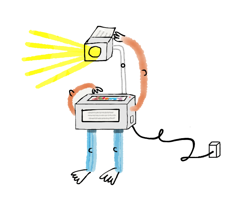Manual Cinema-inspired self-operating, anthropomorphic overhead projector.