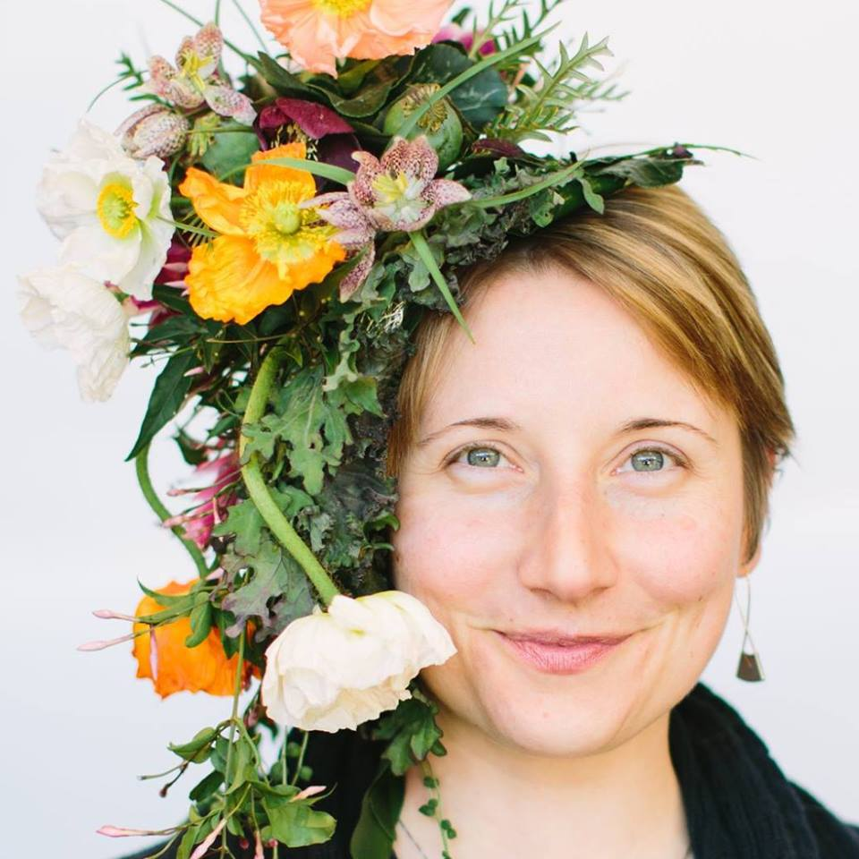 Alison Ellis Floral Artistry Vermont headshot with floral headpiece