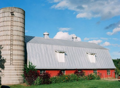 Barn and Silo at Hope Flower Farm