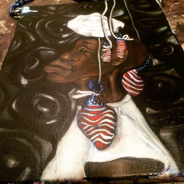 """Patriotic Loon"" Acrylic x Pastel on Canvas with chain. #visualart #artislife #blackartist #blackgirlmagic #contemporaryart #blackart #houstonart #houstonartist #roses #balloons #america #paintings #artcollectors #blackwallst #blackmen #blackentrepreneurs"