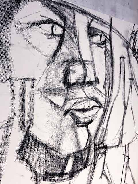 Sketch detail, phase 1 of my work  on display at the Houston Museum of African-American Culture