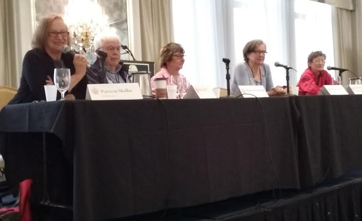 Magna cum Murder 2016: Moderating panel that included headline authors Maureen Jennings and Natasha Cooper talking about the appeal of the flawed protagonist. (Photo by Elaine L. Orr)
