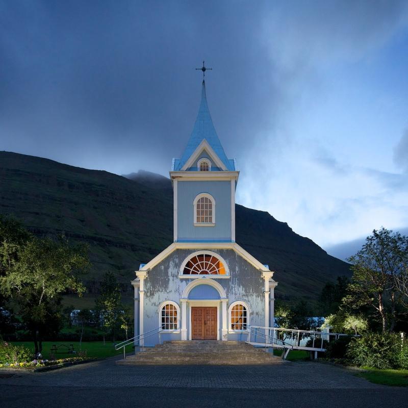 Bláakirkja (Blue Church) in Seyðisfjörður, above, was built with corrugated iron siding and encapsulates many common Icelandic architectural qualities.