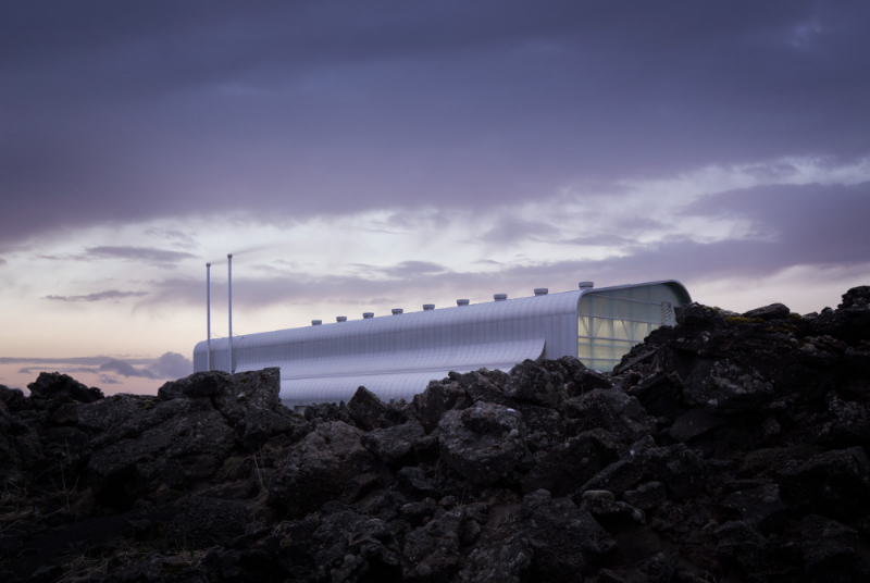 The sleek Reykjanesvirkjun power station rises quietly out of the expanse of twisted lava fields on the Reykjanes Peninsula, Much of Iceland's electricity is generated through stations similar to this one.