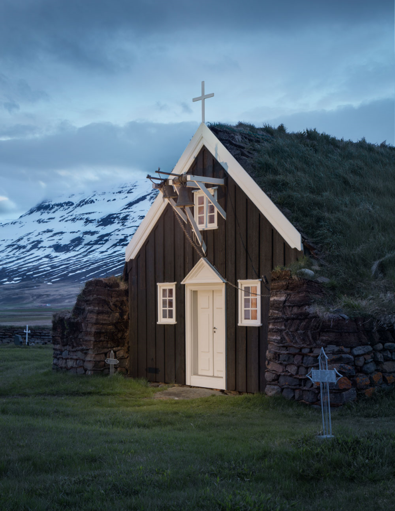 Saurbærkirkja, near Akureyri, is one of the best-preserved turf churches in Iceland and the only one that has not undergone significant restoration since its construction in 1858.