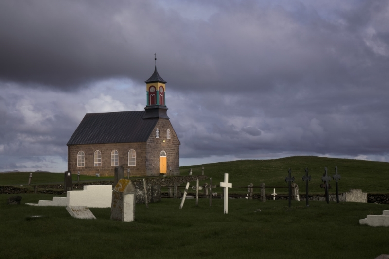 Finished and consecrated in 1887, the windblasted church at Hvalsnes is built with squared stones taken from the site of the famed volcano Hekla and driftwood from the Atlantic Ocean, which is only a few hundred feet from the church itself.