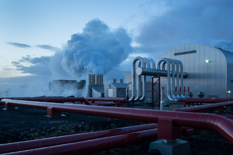 Svartsengi, another one of Iceland's geothermal energy plants, is situated near Reykjavik and is surrounded billowing clouds as superheated steam meets the cold Icelandic dusk.