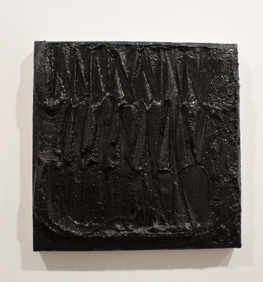"Anthony Titus. ""Voice Nagging Suspicions."" Concrete and enamel on canvas."