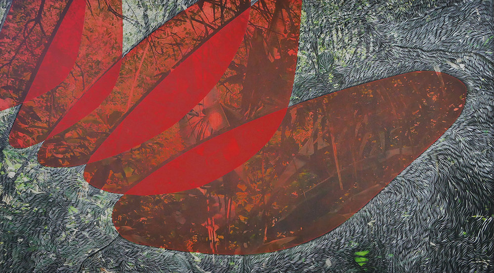"Red Oculus.  Mixed media on paper (digital photograph, oil and ink), 17"" x 30"", 2016.  Photos taken at Adolpho Ducke Rainforest Reserve, Manaus, Brazil"