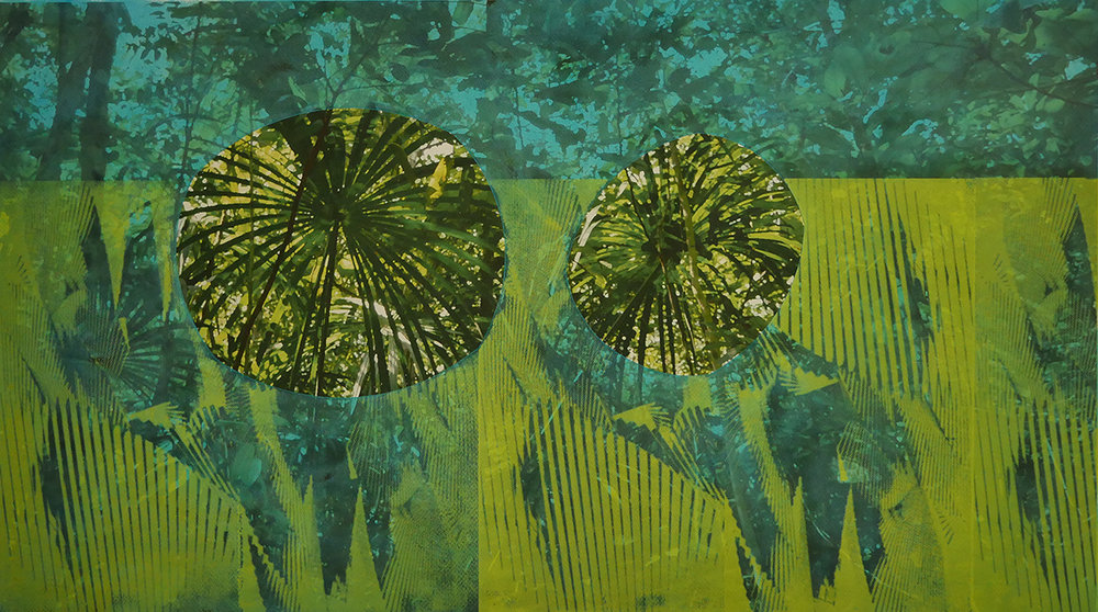 """Seeing Double (Green). Mixed media on paper (digital photograph, screen print and oil), 17"""" x 30"""", 2017. Photos taken at Adolpho Ducke Rainforest Reserve, Manaus, Brazil"""