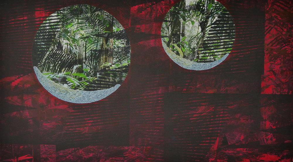 "Seeing Double (Red).  Mixed media on paper (digital photograph, screen print and oil), 17"" x 30"", 2017.  Photos taken at Adolpho Ducke Rainforest Reserve, Manaus, Brazil"