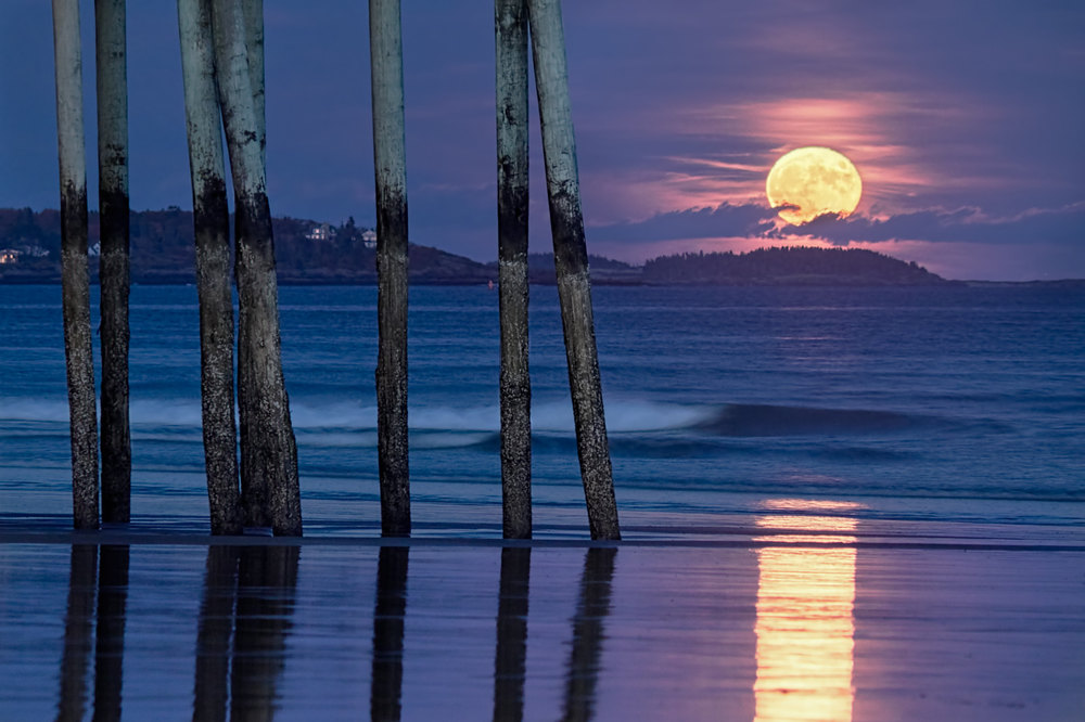 Old Orchard Beach Pier Moonrise