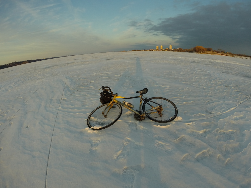 My bike, Giant Defy:  Defy all common sense and ride a road bike on ice in spring!