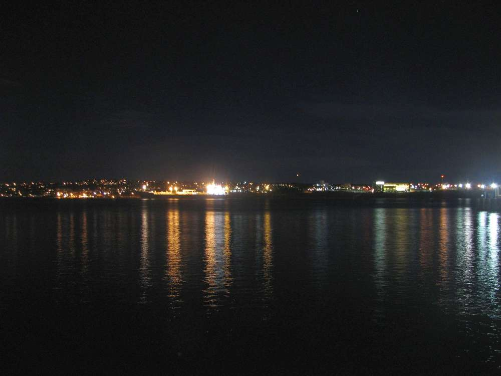 Harbor area at night