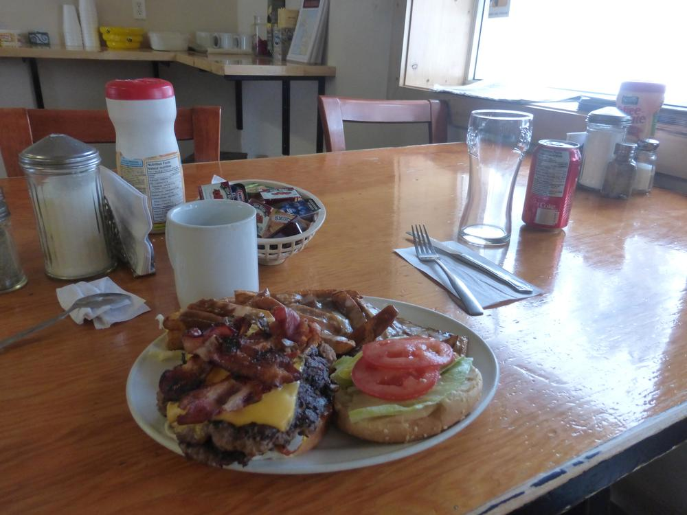 The Rancheria Superburger met its match, a hungry cyclist.