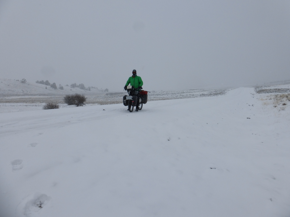 Riding on snowpacked road, GDMBR.