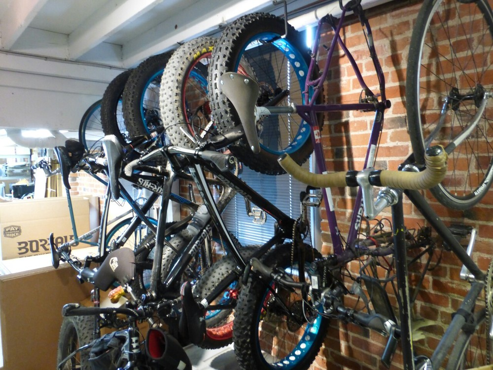 "Deadhorse ""hanging"" out with some fatties at Borealis bikes factory."