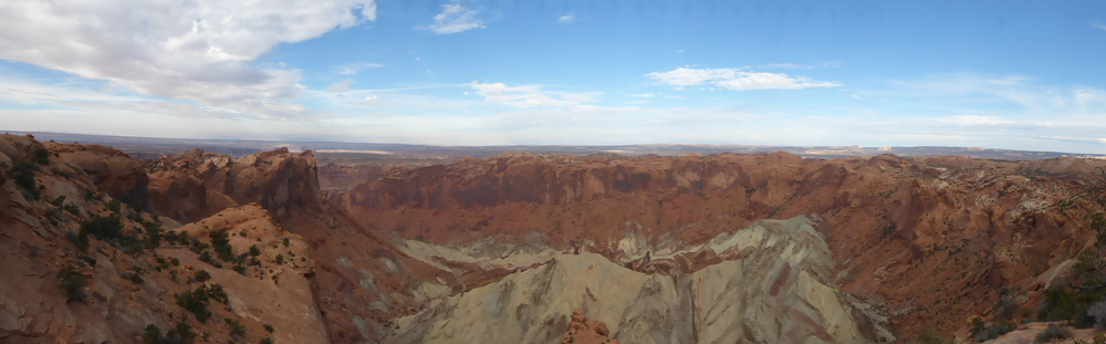 Upheaval Dome: A long time ago a meteor fell here and over the time the forces of nature created this odd-looking crater.
