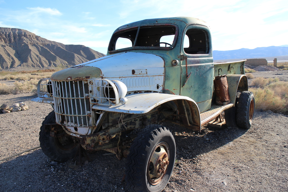 Charles Manson's truck. Known for the horrifying murders that took place at Baker Ranch here in Death Valley. More horrifying to me is driving this truck up those roads in the 60s.