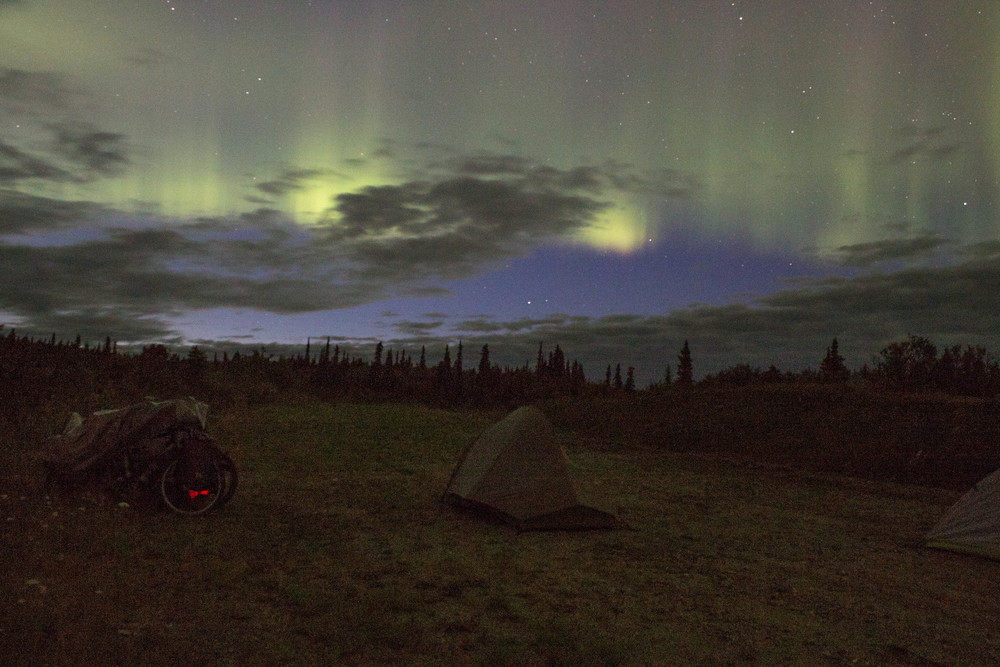 Shhh... the bikes are sleeping.  The Northern Lights, Photo: Joe