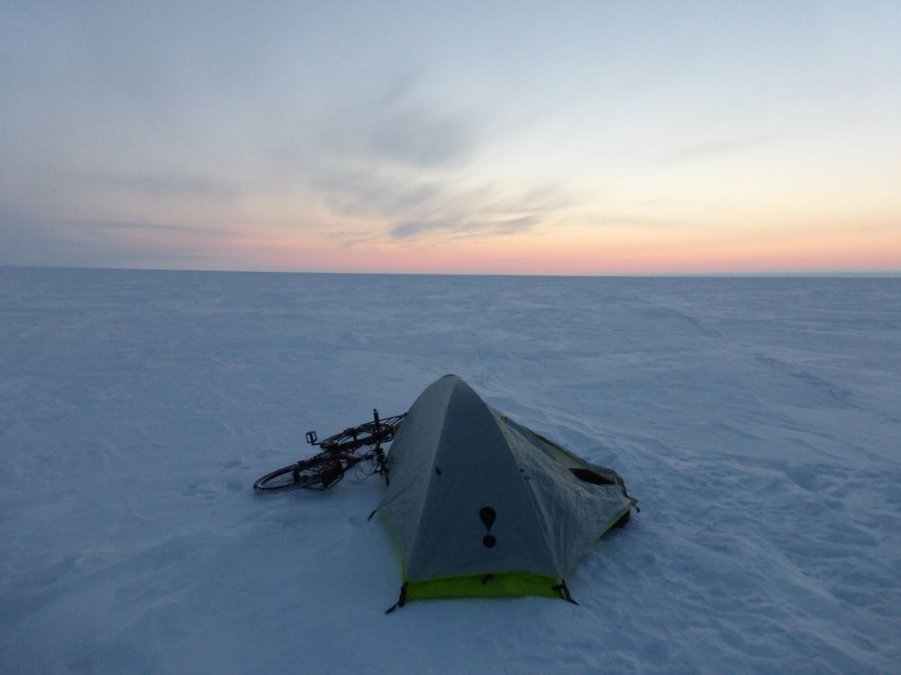 Camping on the frozen Arctic Ocean in Northwest Territories, Canada (temperature was -30C in the morning)