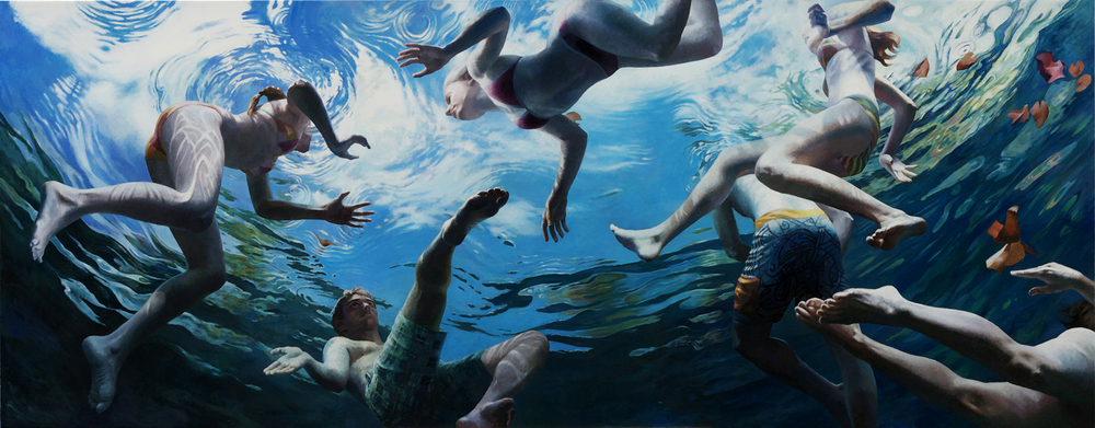 """Cenote Series: Six Swimmers"",   50"" x 128"""