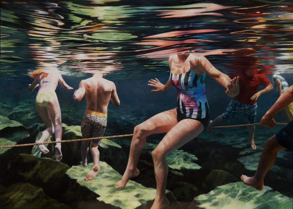 """Cenote Series: Swimmers and Rope"",  50"" x 70"""