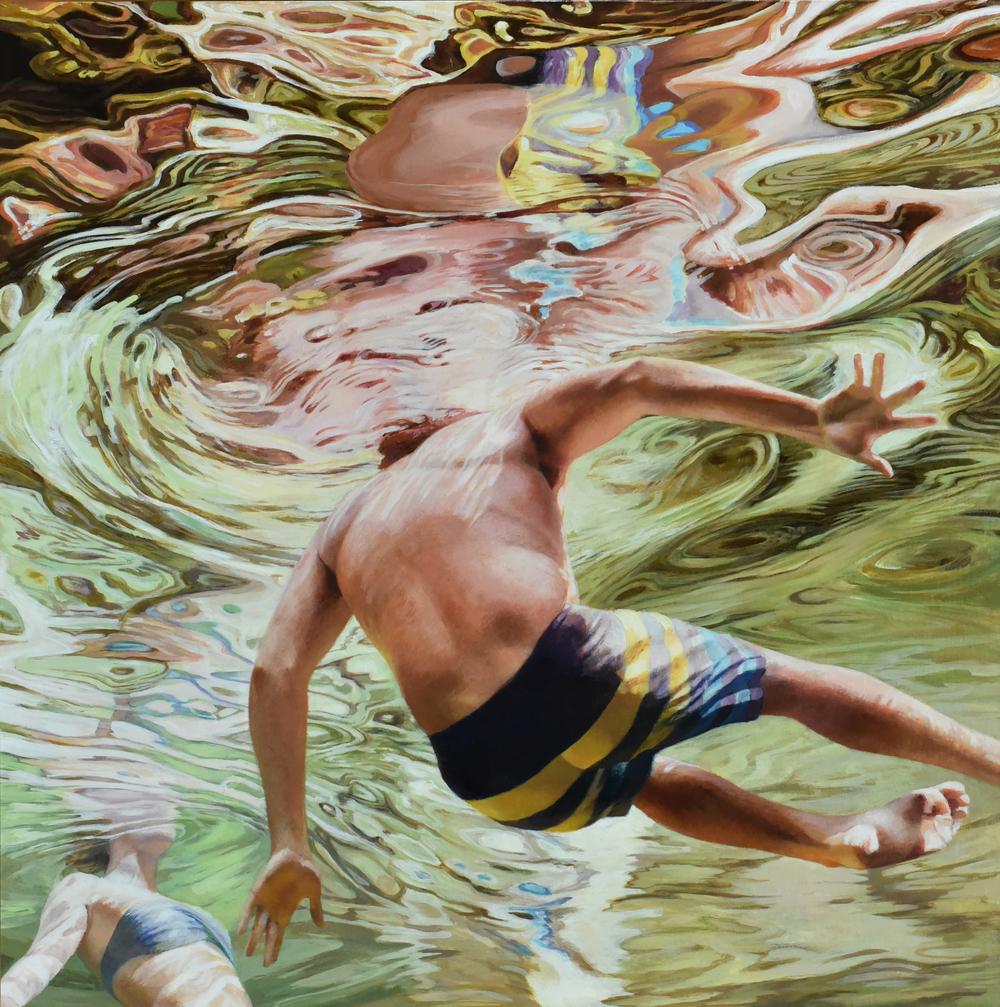"""""""Cenote Azul #12"""", 2016, 30 x 30, acrylic on linen"""