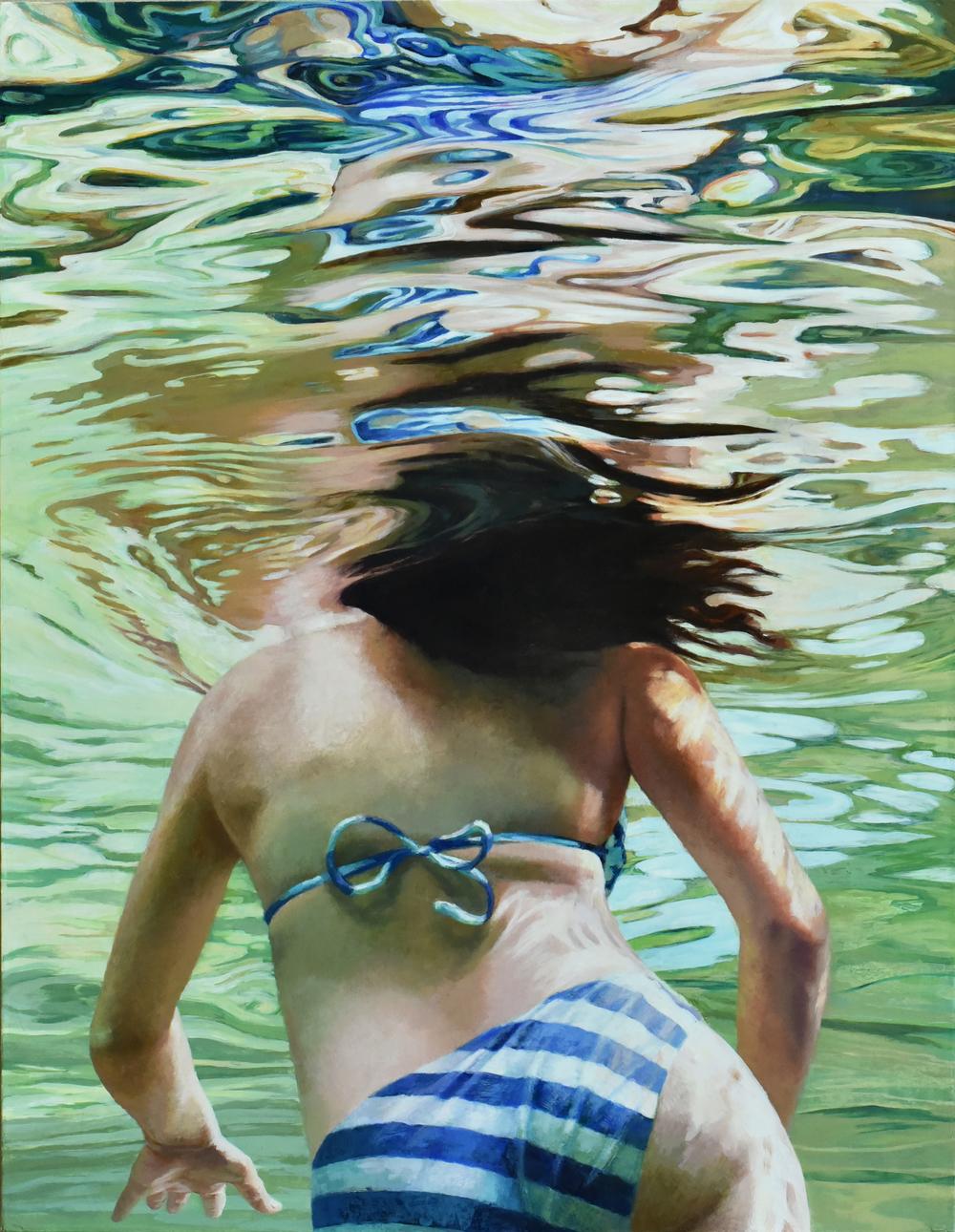 """""""Cenote Azul #13"""", 2016, 36 x 28, acrylic on linen"""