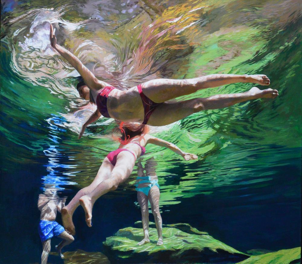 """""""Cenote Azul #7"""", 2015, 40 x 46, acrylic on linen"""