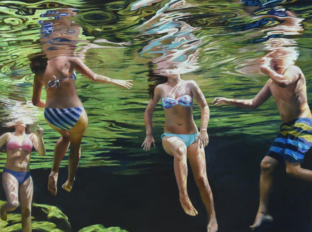 """""""Cenote Azul #11"""", 2016, 30 x 40, acrylic on linen"""