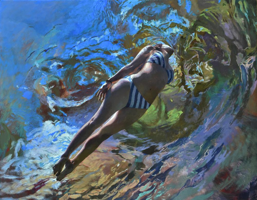 """""""Cenote Azul #16"""", 2016, 54 x 70, acrylic on linen"""