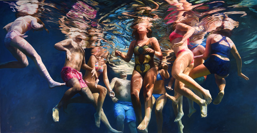 """""""Cenote Azul #28"""", 2017, 58"""" x 112"""", acrylic on linen"""