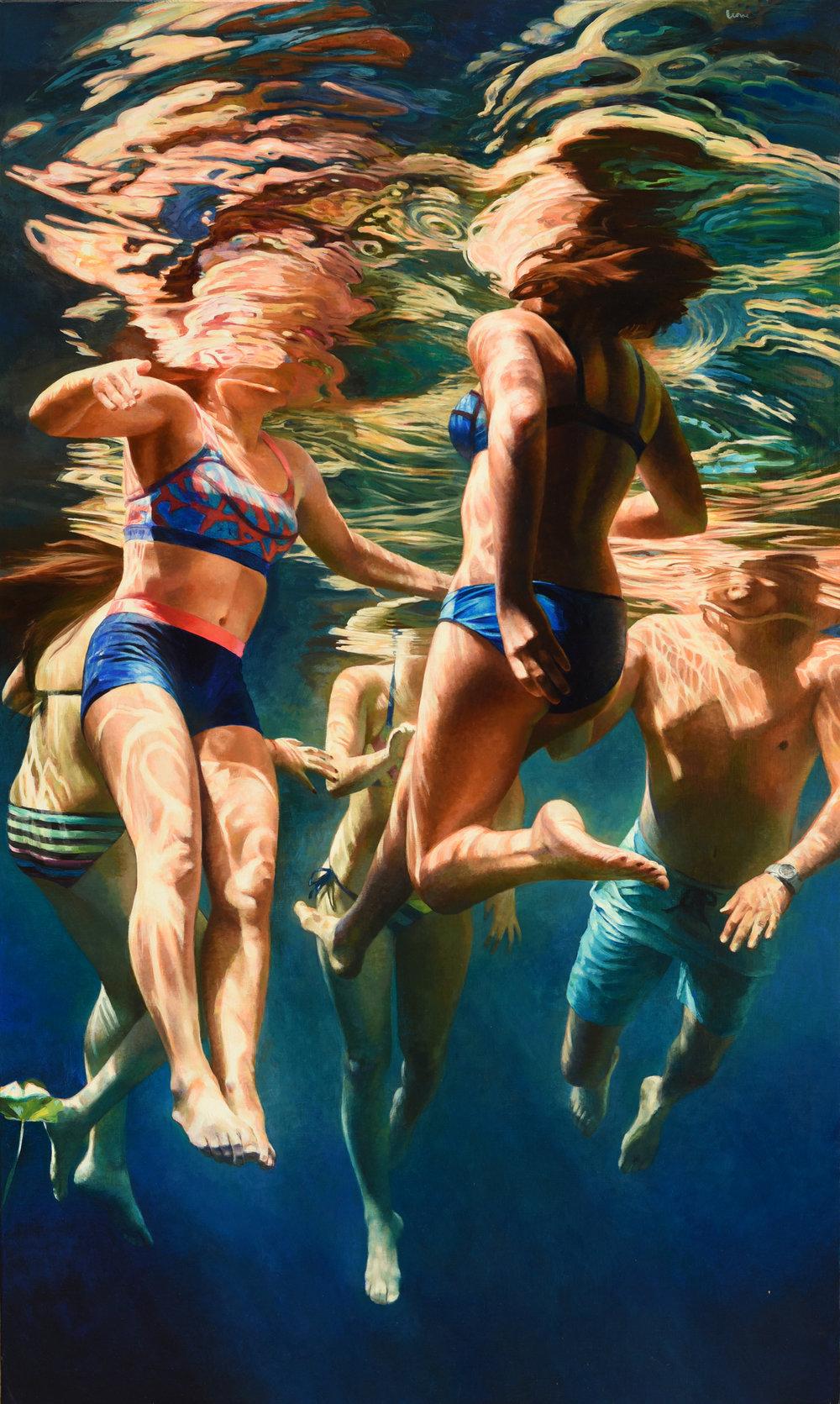 """""""Cenote Azul #33"""", 2017, 60"""" x 36"""", acrylic on linen"""