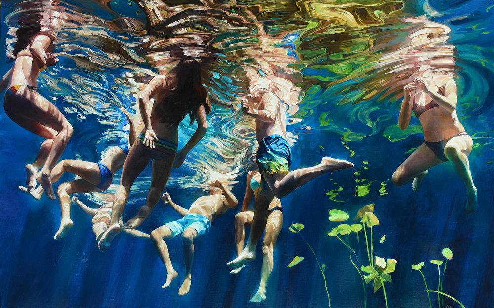"""Cenote Azul #35"", 2018, 30"" x 48"", oil on linen"