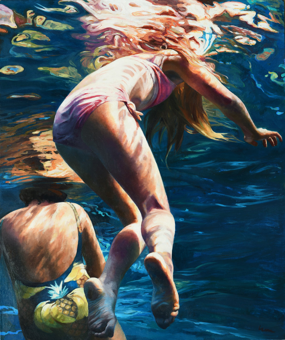 """Cenote Azul #37"", 2017, 36"" x 30"", oil on linen"