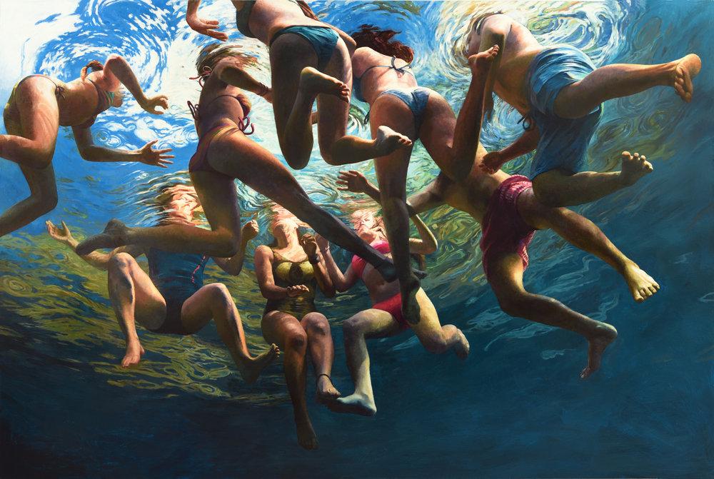 """""""Cenote Azul #30"""", 2018, 64"""" x 96"""", acrylic on linen"""