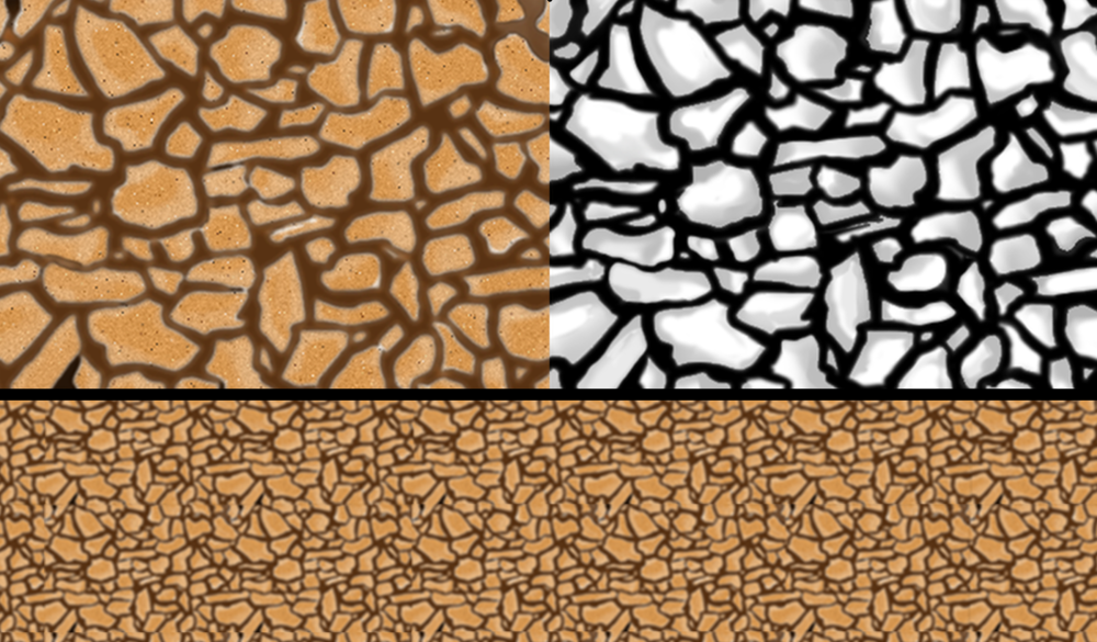 I created all textures and bump maps I used in Photoshop, most notably the cobblestone (above), Dragon scales, and rooves. The left is the texture, the right is the bump map, and the bottom bar is how it looks tiled.