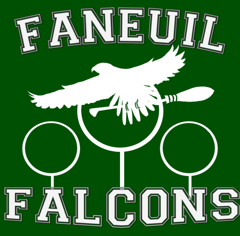 The Falcon logo before it was sent in to get printed on the jerseys