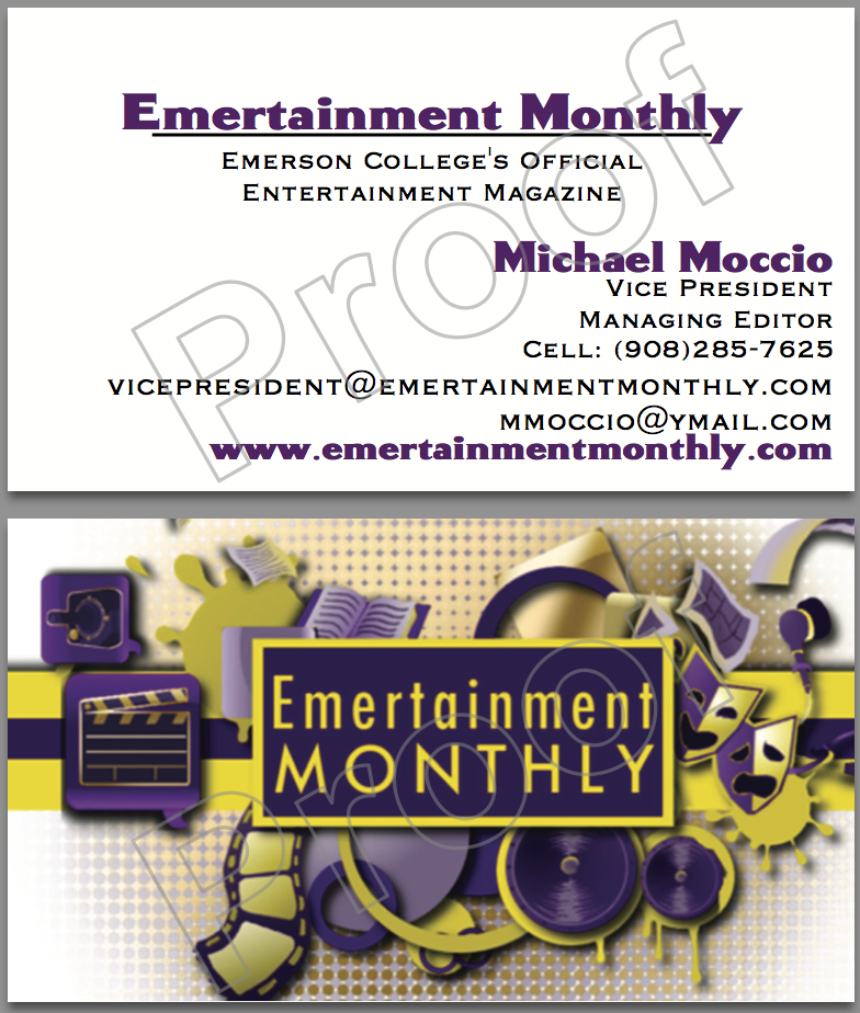 My Editor, Michael Moccio's business card, using an earlier rendition of the logo