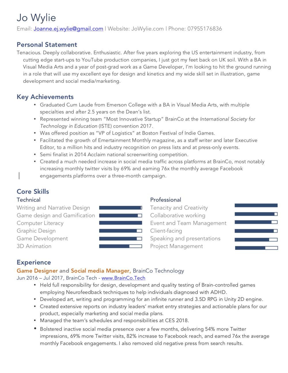 CV page 1
