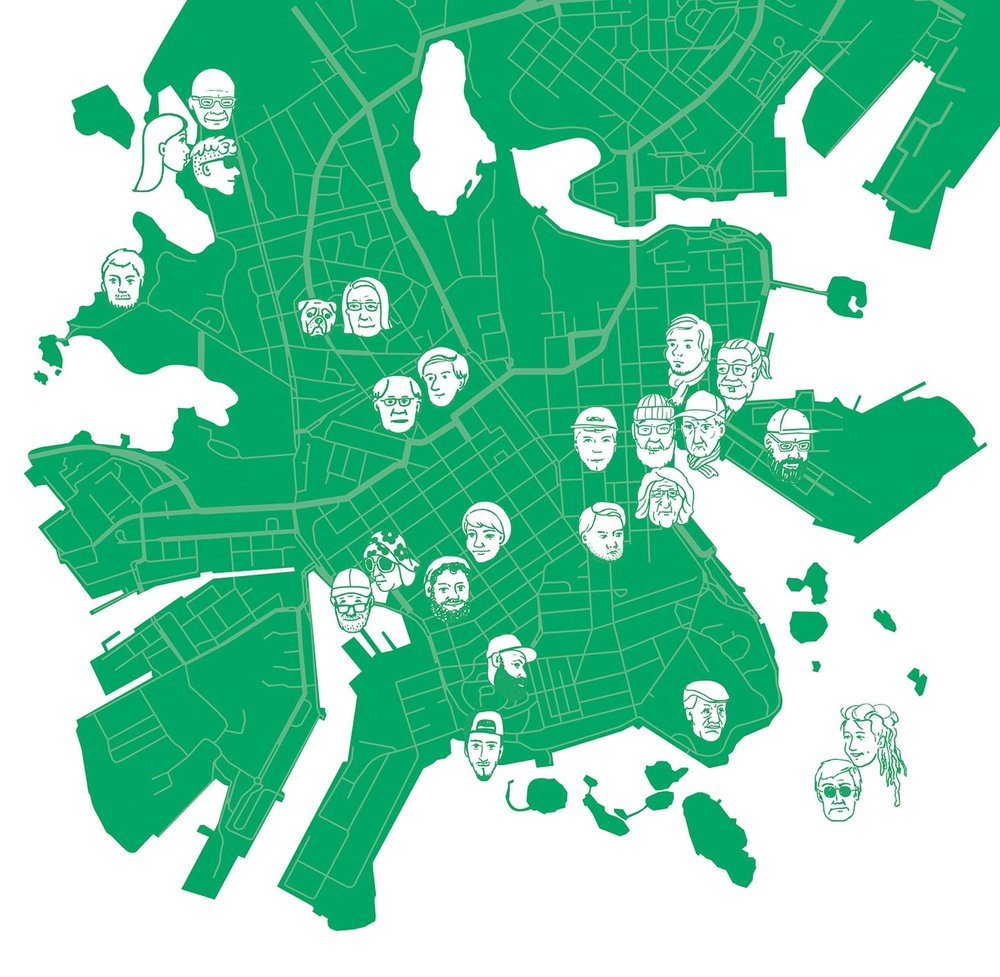 A map of Helsinki indicating 25 interviewees and the locations.