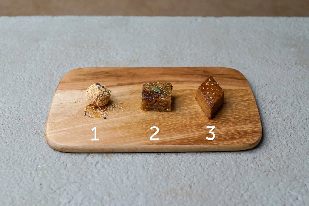 A LOT dessert trio: Stronger and deeper taste depending on the sharpness of shapes.