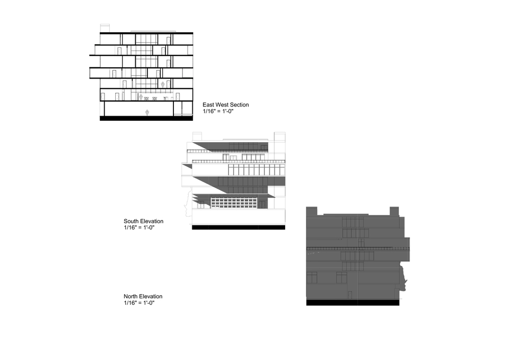 North and South elevations / Section